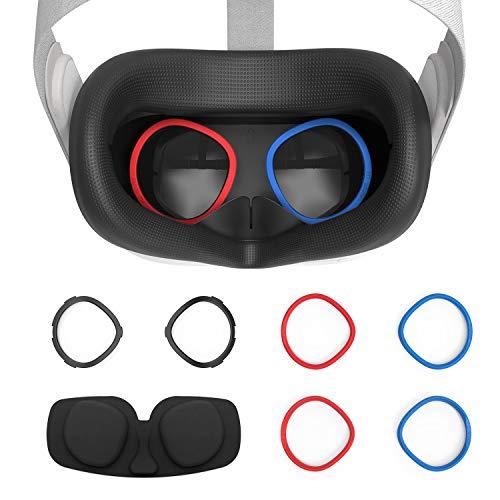 AMVR VR Silikon-Gesichtsabdeckung und Linse Anti-Kratz-Ring zum Schutz der Myopie-Brille vor kratzenden VR-Linsen für Oculus Quest 2 Ersatz-3-in-1-Zubehör (Black)