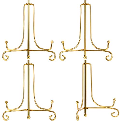 4 Packs Iron Display Stand, Iron Easel Plate Display, Photo Holder Stand for Home Decoration (Gold, 4 Inch)