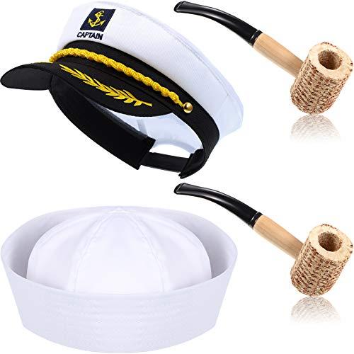 4 Pieces Captain Sailor Costume Set Adjustable...