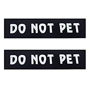 Dog Vest Patches, Service Dog/in Training/Emotional Support/Thrapy Dog/DO NOT PET PU Patches Velcro – 2 Free Removable Dog Tags for Dog Harness, Collar & Leash
