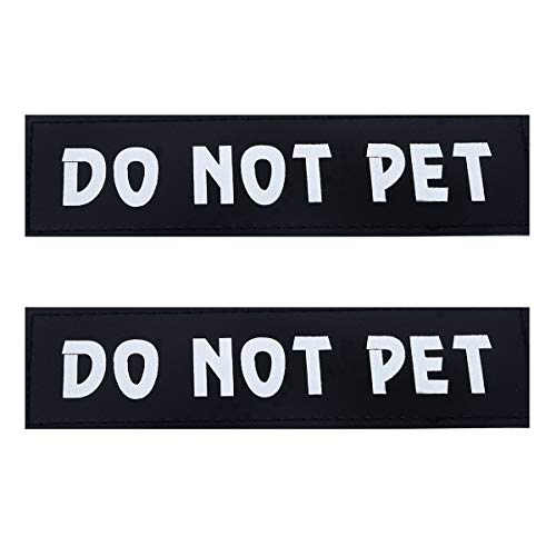 Dog Vest Patches, Service Dog/in Training/Emotional Support/Thrapy Dog/DO NOT PET PU Patches Velcro - 2 Free Removable Dog Tags for Dog Harness, Collar & Leash