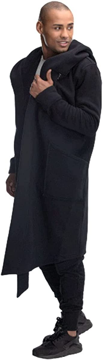 Low Vision Long Cardigan Open Front Draped Hooded Sweater with Pockets