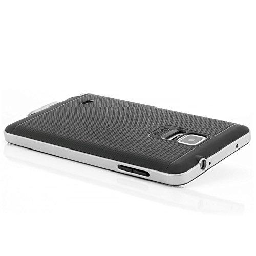 Custodia Compatibile con Samsung Galaxy Note 4 Cover, Silicone Slim Case [Neo Hybrid] TPU Protezione e Bumper [Antiurto] Nero-Argento