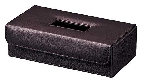 ティッシュケース フェイク レザー ティッシュ カバー ケース ダークブラウン 約26.5×14×8cm 57-00DBR