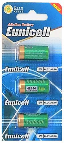 3 x 4LR44 6V (1 Blister a 3 Batterien) Quecksilberfreie Alkaline Batterien PX28, 4G13, 476A, L1325 EINWEG Markenware EUNICELL