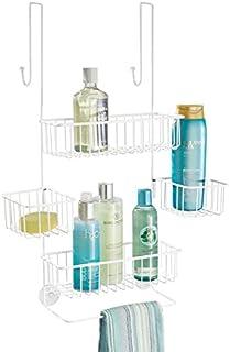 mDesign Estantería de baño colgante – Práctica estantería para ducha – Fácil de colocar sin tornillos ni herramientas – Repisa con 2 baldas para baño de metal resistente – blanco mate