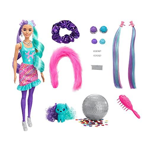 Barbie Color Reveal Peinados Globos, muñeca sorpresa de juguete con accesorios para el pelo y mascota (Mattel HBG41)