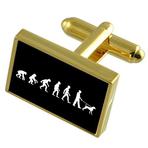 Select Gifts Évolution à l'homme singe Dog Walker Gold-tone de manchette Message gravé fort