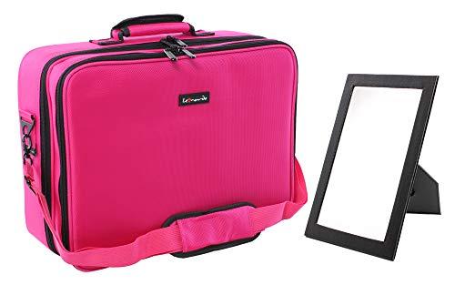 Leonardo LEO50821 Portatrucco Valigetta Porta Trucchi per il Trucco Professionale Borsa Portatrucco per Cosmetici da Viaggio per Make-up Artist grande con specchio