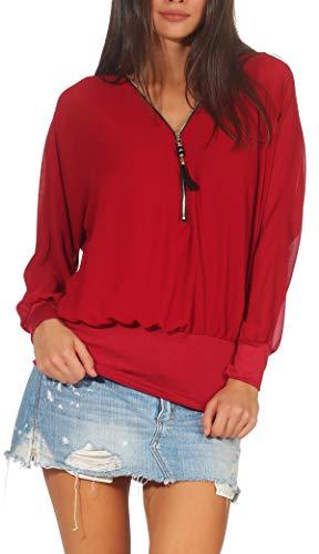 Malito Damen Bluse im Fledermaus Look   Tunika mit Zipper   Kurzarm Blusenshirt mit breitem Bund   Elegant - Shirt 6297 (Bordeaux)