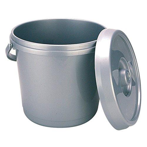 Whitefurze H07032 - Secchio in plastica con Coperchio, 14 Litri, Colore: Argento