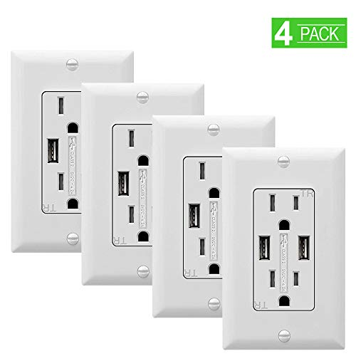 SZICT USB Outlet Receptacle, 4 Pack UL-Listed 4.2A TR Ultra-Fast USB Charging Receptacle 2 USB Ports Receptacle Charger, 15A Wall Receptacle Outlet with Wall Plate, White