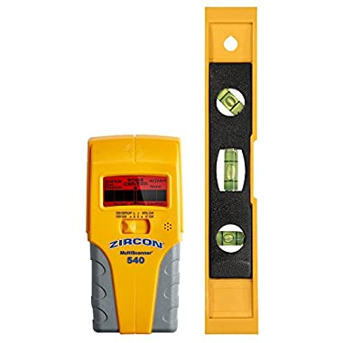 Zircon MultiScanner 540 Electronic Wall Scanner and Bonus 9  Level / Center Finding and Edge Finding Stud Finder / Metal Detector / Live AC Wire Detection/ Easy to Read LCD Screen