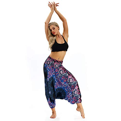 Pantalones De Estilo Hippie De Los Mujer De La Vendimia del Estilo Nacional Pantalones Holgados Bombachos Ocasionales del HippiePúrpuraTamaño Libre