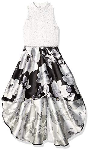 Speechless Big Girls Party Dress with Dramatic High-Low Hemline, Black Grey, 8