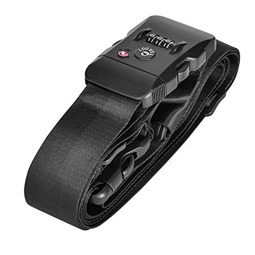 Cross Luggage Straps for Suitcase with TSA Lock Long Suitcase Straps Adjustable Luggage Packing Belt with Name (Black)