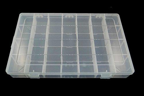 Perlin - Schmuck Perlen Box 5XL großer Perlenbox Sortierbox mit 28 Fächer Sortierkasten Schmuckschatullen Sortimentskasten Schmucktablett Aufbewahrungsbox für Kosmetik Bastelbox B31