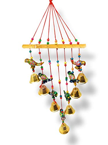 JH Gallery Handcrafted Rajasthani Wind Bell for Garden/Patio Deco/Wall Hanging/Home Décor/Home Furnishing/Diwali Gift/Corporate Gift Outdoor Sympathy Wind Chimes Gift Keepsake (Parrot)