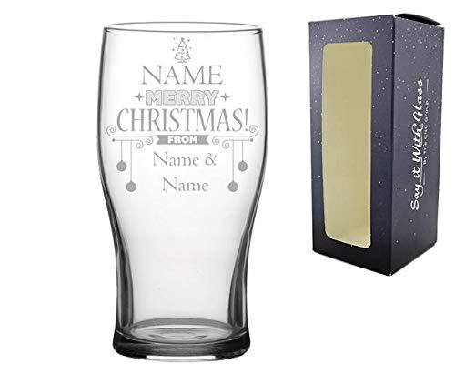 Tulpenglas mit personalisierbarer Gravur, tolles Weihnachtsgeschenk und geheimen Weihnachtsmann