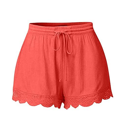 FMYONF 2 pantalones cortos de verano para mujer, de encaje suelto, cintura elástica con cordón, pantalones deportivos lisos, pantalones de pijama, pantalones de yoga, naranja, XXXL