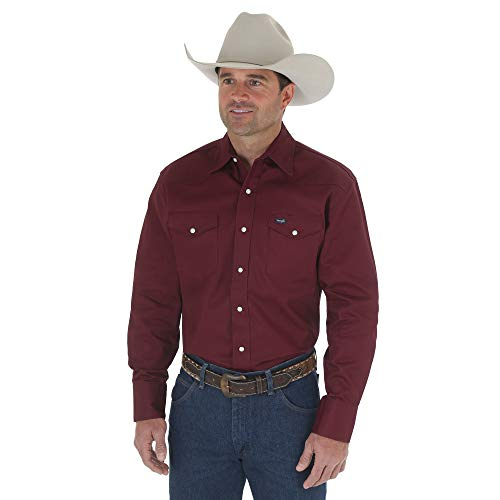 Wrangler Men's Authentic Cowboy Cut Work Western Long-Sleeve Firm Finish Shirt,Red Oxide,Large