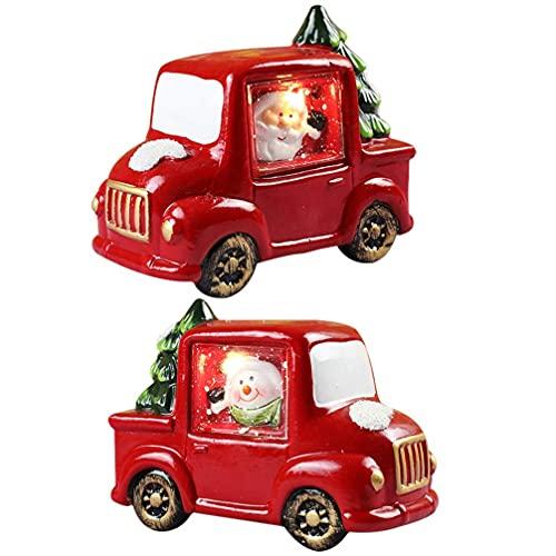 JJDSN 2 Piezas Navidad Santa Claus luz de Noche Navidad muñeco de Nieve decoración de luz de Coche Adornos de lámpara de Mesa de Escritorio