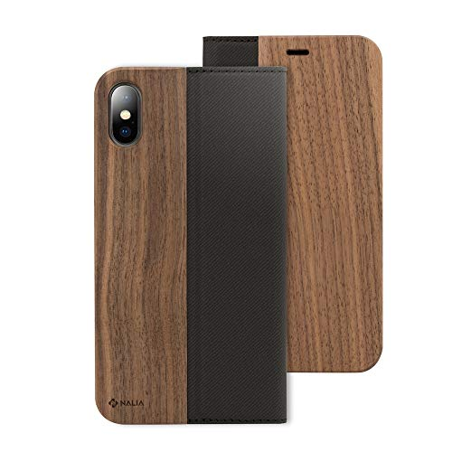NALIA Echt-Holz Hülle kompatibel mit iPhone X XS, Handmade Natur-Holz Handy-Tasche Klapphülle Flip-Case Handyhülle, Dünnes Schutzhülle Kunst-Leder Hardcase, Wood Book Cover Bumper, Farbe:Walnuss
