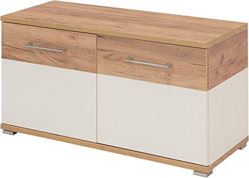Germania Banco Zapatero, Engineered Wood, White/Navarra-Oak Repro, 96 x 51 x 40 cm