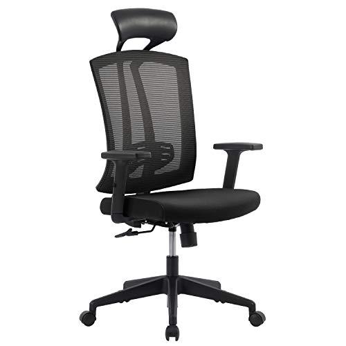 DreamMespace Silla de oficina ergonómica con reposacabezas ajustable y respaldo alto de malla agradable al tacto