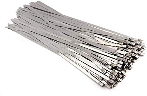 CAIZHIXIANG 100pcs 4.6x300 / 200/150 mm de Acero Inoxidable del Metal del Cable de Alambre plastificado Abrigo del Extractor de Calor Correas de inducción Tubo colector Accesorios de cableado