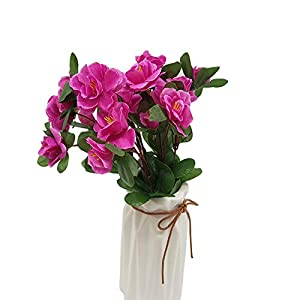 Wansan Artificial Flowers Fake Flowers Rhododendron Bouquet for DIY Table Home Garden Party Bridal Wedding Decoration