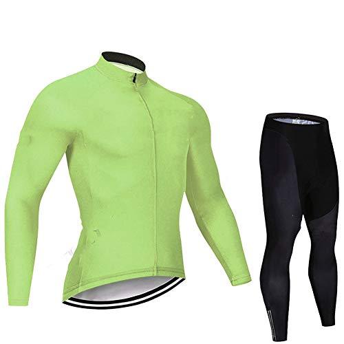Ropa Ciclismo Otoño/Primavera para Hombre y Mujer - Ciclismo Maillot MTB de Manga Larga y Culotte Pantalones Acolchado 3D(s-3xl),Green 1,XX_Large