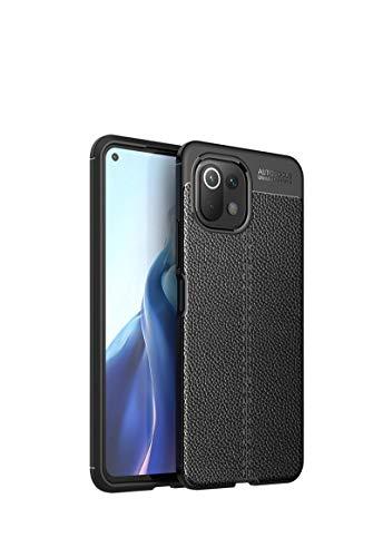GOKEN Hülle für Xiaomi Mi 11 Lite 5G | Mi 11 Lite, Schutzhülle TPU Silikon Handyhülle mit Stilvolles Leder-Textur-Design(Nicht Leder), Stoßfest Bumper Hülle Soft Flex Cover, Schwarz