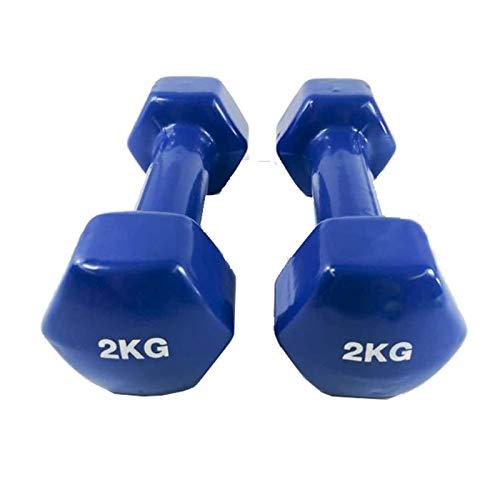 Natural Logistics Mancuernas de Vinilo (2 kg, Azul) | Mancuernas hexagonales de Goma para Pilates | Pesas Antideslizantes para Gimnasio en casa | Deporte en casa con Pesas. KOTTAO