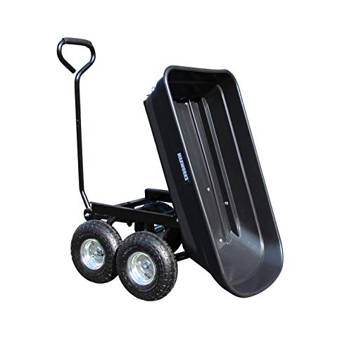 MaxWorks 50500 Heavy Duty Garden Dump Cart with Steel Frame and Pneumatic Wheels, Black