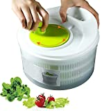 Salad Spinner Collapsible Vegetable Dryer Manual Lettuce Dryer Large Vegetable drainer for Washing, Drying Greens and Other Vegetables (Green)