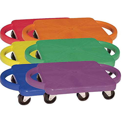 Champion Sports Scooter Board with Handles Set of 6 Wide 12 x 12 Base  MultiColored Fun Sports Scooters with NonMarring Plastic Casters for Children  Premium Kids Outdoor Activities and Toys