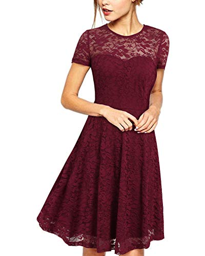 ZANZEA Damen Spitze Lace Kurzarm Kleid Party Cocktail Bodycon Club Kurz Abend Minikleider Weinrot EU 38/US 6