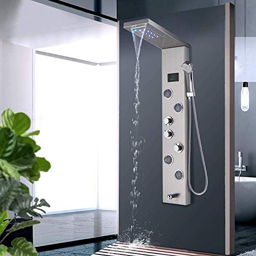 Zovajonia LED Shower Panel Tower System Bathroom Rainfall Waterfall Shower Head Rain Massage System with Body Jets & Hand Shower Stainless Steel Shower System