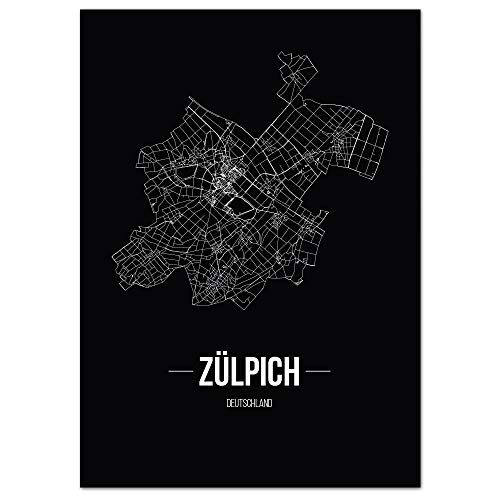 JUNIWORDS Stadtposter, Zülpich, Wähle eine Größe, 21 x 30 cm, Poster, Schrift B, Schwarz