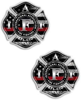 2 Pack IAFF Thin Red Line Decal Sticker Vinyl Car Truck Jeep Firefighter TRL 3M Bumper Military Strong