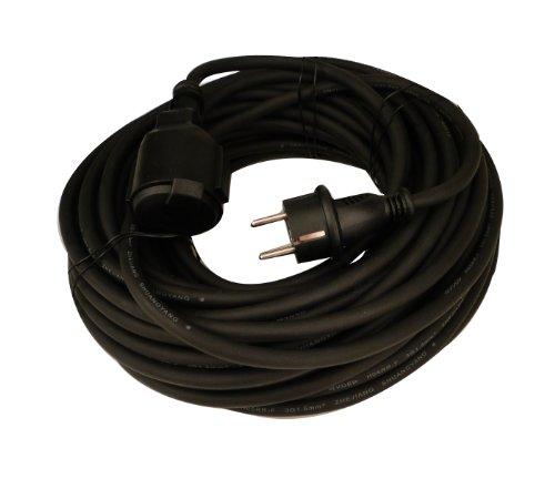 UNITEC 44563 Gummi-Verlängerung H05RR-F 3G1,5 mm², 10 m, schwarz