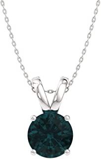 Natural and Certified Gemstone Solitaire Necklace in 14k White Gold | 0.30 Carat Pendant with Chain