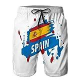 jiilwkie 300 Herren Sommer Badehose Quick Dry Board Beach Shorts Spanien Flagge auf einem weißen XL