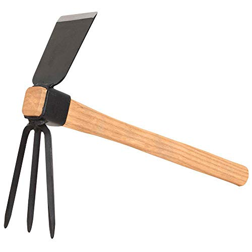 VILIVIT Garden Hoes Dual Headed Weeding Tool - Carbon Steel Hoe/Cultivator 3 Prongs Combo Garden Tools with Wood Handle