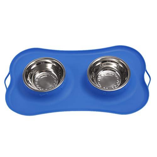 Balacoo Ciotola per Animali Domestici Ciotola per Cani in Silicone Ciotola Doppia in Acciaio Inossidabile Ciotola Antiscivolo Portabevande per Cane Gatto Cucciolo Gattino (Blu)