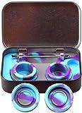 Caja portátil de acero inoxidable de Bong de 2 a 5 ml de recipientes de silicona para envases de aceite de cera, caja de aceite de humo de silicona, cuchara de cigarrillo (azul mar)