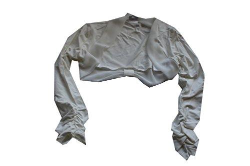 Bian Corella Weise Mädchen Kommunionjacke Artikel: 17770 Farbe: 009 Ivory Gr. 140 Jacke mit Chiffon-Einsatz am Rand und am Rücken mit Schleifenraffung. Langer Arm mit Raffung. Kommunionjacke