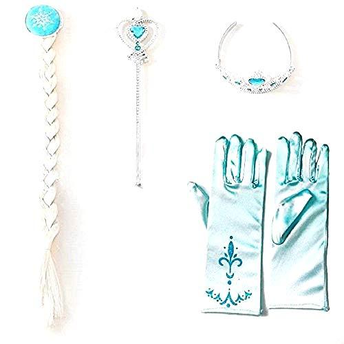 4 accesorios de elsa - carnaval - halloween - trenza - varita - corona - guantes con símbolo - idea de regalo para navidad y cumpleaños