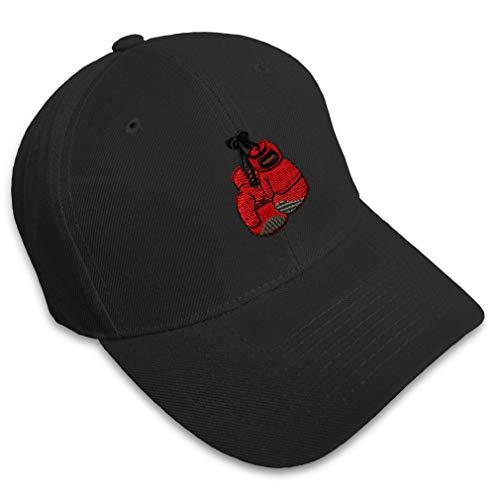 Baseball Cap Boxing Gloves Embroidery Sports Acrylic Hats for Men & Women Strap Closure Black Design...